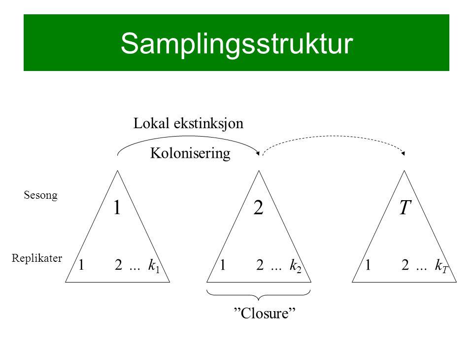 Samplingsstruktur Sesong 1 12k1k1... Replikater 2 12k2k2...