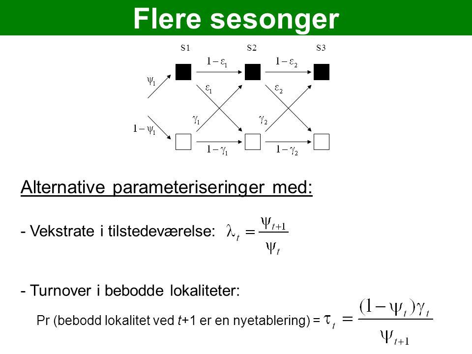 Flere sesonger S1S2S3 Alternative parameteriseringer med: - Vekstrate i tilstedeværelse: - Turnover i bebodde lokaliteter: Pr (bebodd lokalitet ved t+1 er en nyetablering) =