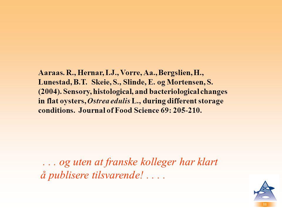 11 Aaraas. R., Hernar, I.J., Vorre, Aa., Bergslien, H., Lunestad, B.T. Skeie, S., Slinde, E. og Mortensen, S. (2004). Sensory, histological, and bacte