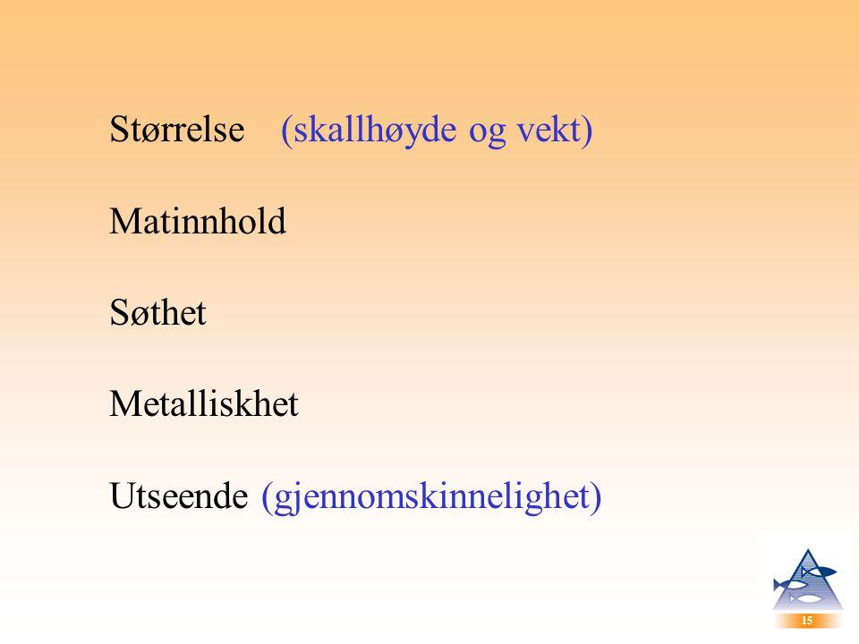 15 Størrelse(skallhøyde og vekt) Matinnhold Søthet Metalliskhet Utseende (gjennomskinnelighet)