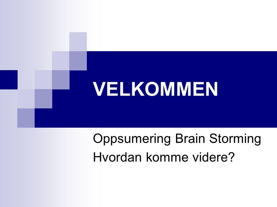 VELKOMMEN Oppsumering Brain Storming Hvordan komme videre?