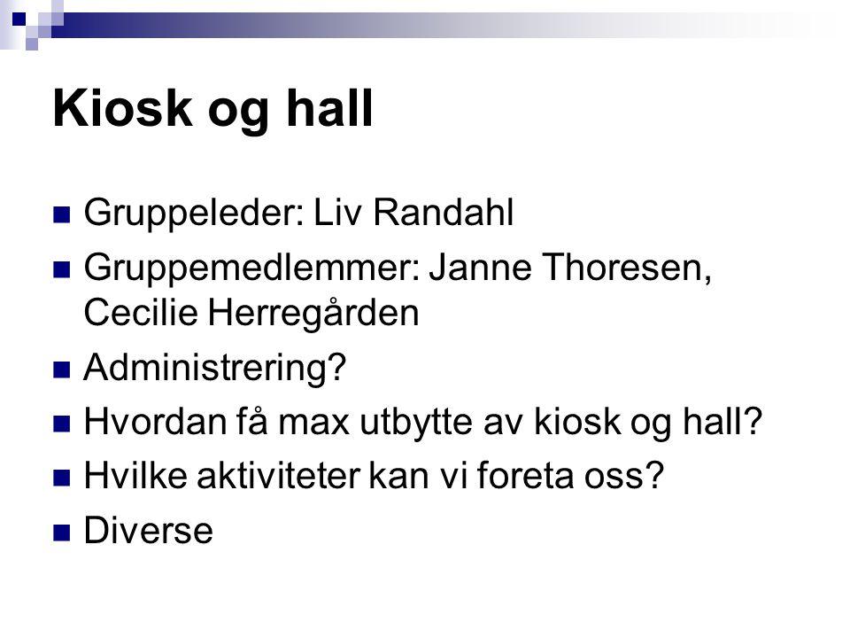 Kiosk og hall  Gruppeleder: Liv Randahl  Gruppemedlemmer: Janne Thoresen, Cecilie Herregården  Administrering?  Hvordan få max utbytte av kiosk og