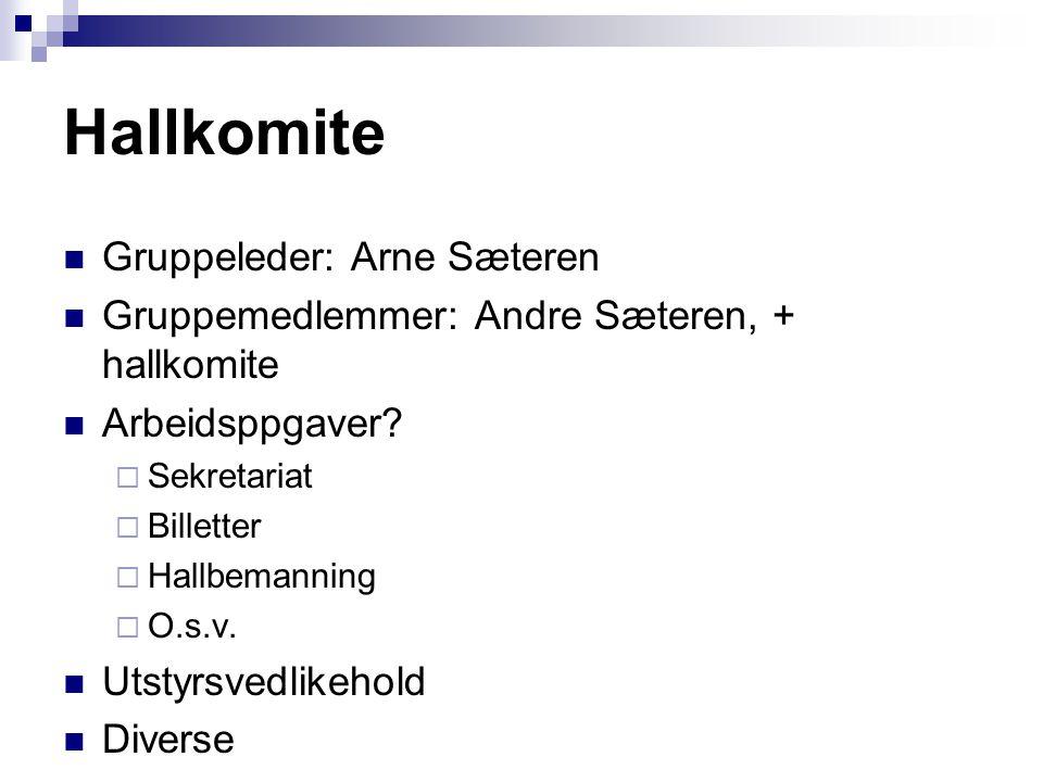 Hallkomite  Gruppeleder: Arne Sæteren  Gruppemedlemmer: Andre Sæteren, + hallkomite  Arbeidsppgaver?  Sekretariat  Billetter  Hallbemanning  O.