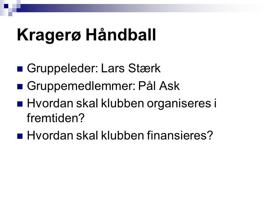 Kragerø Håndball  Gruppeleder: Lars Stærk  Gruppemedlemmer: Pål Ask  Hvordan skal klubben organiseres i fremtiden?  Hvordan skal klubben finansier