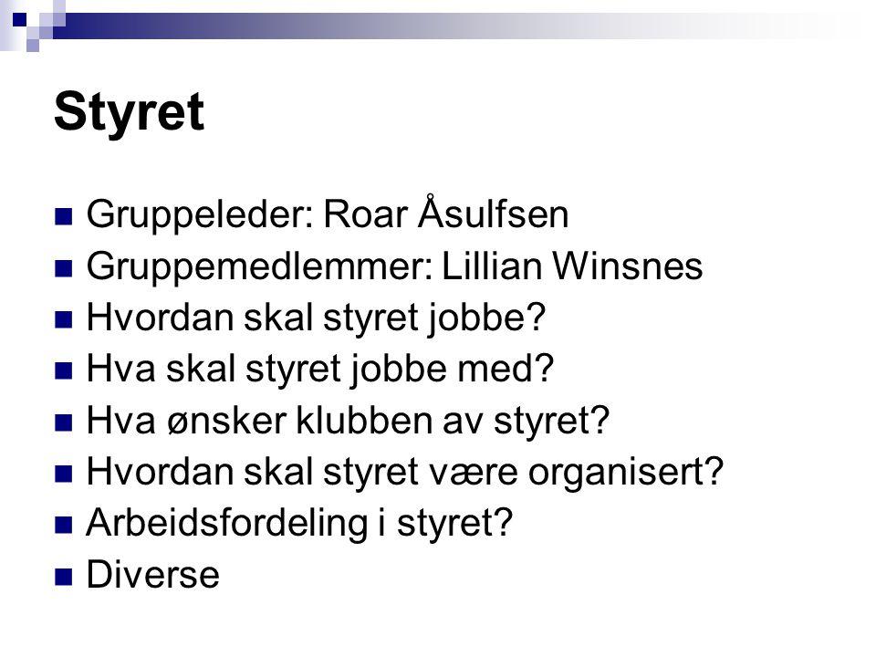 Styret  Gruppeleder: Roar Åsulfsen  Gruppemedlemmer: Lillian Winsnes  Hvordan skal styret jobbe?  Hva skal styret jobbe med?  Hva ønsker klubben