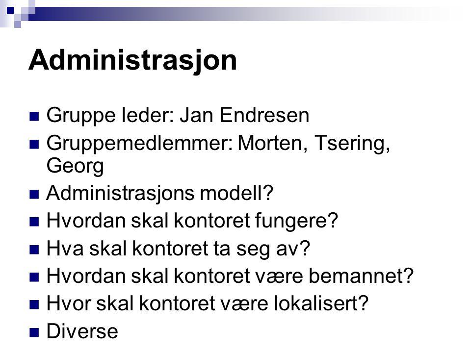 Administrasjon  Gruppe leder: Jan Endresen  Gruppemedlemmer: Morten, Tsering, Georg  Administrasjons modell?  Hvordan skal kontoret fungere?  Hva