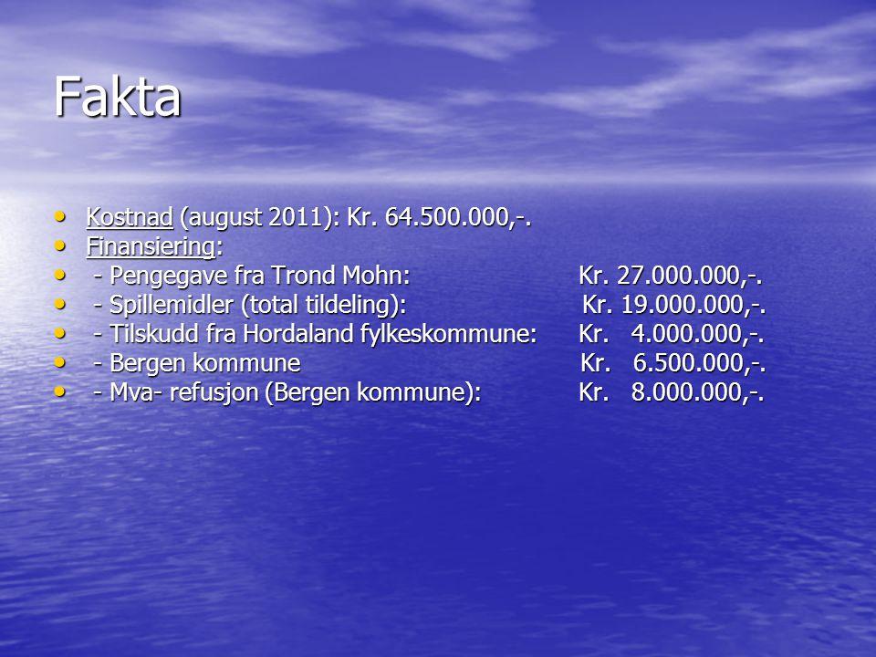 Fakta • Kostnad (august 2011): Kr.64.500.000,-. • Kostnad (august 2011): Kr.