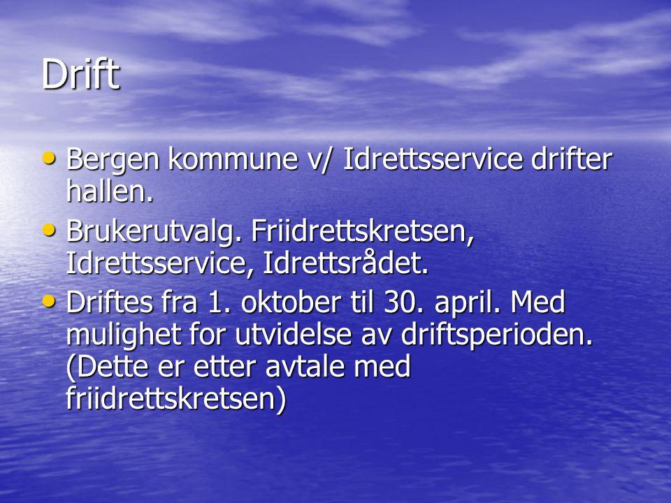 Drift • Bergen kommune v/ Idrettsservice drifter hallen.