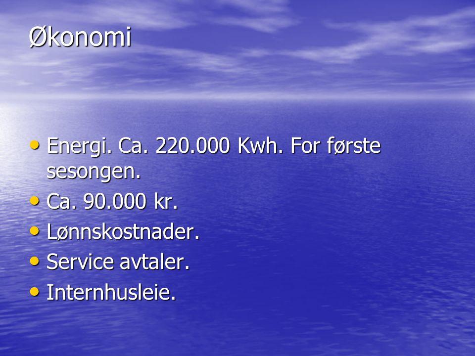 Økonomi • Energi.Ca. 220.000 Kwh. For første sesongen.