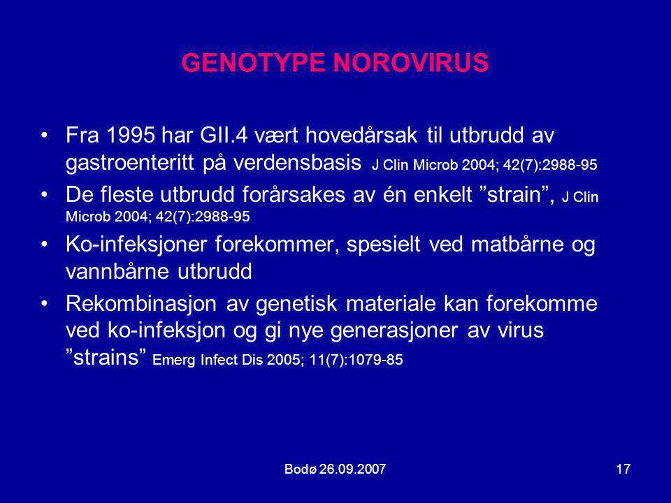Bodø 26.09.200717 GENOTYPE NOROVIRUS •Fra 1995 har GII.4 vært hovedårsak til utbrudd av gastroenteritt på verdensbasis J Clin Microb 2004; 42(7):2988-