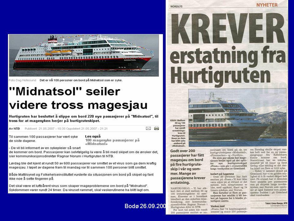 Bodø 26.09.200715 LAB.DIAGNOSTIKK NOROVIRUS •Avføringsprøve tas < 3 døgn etter sykdomsstart.