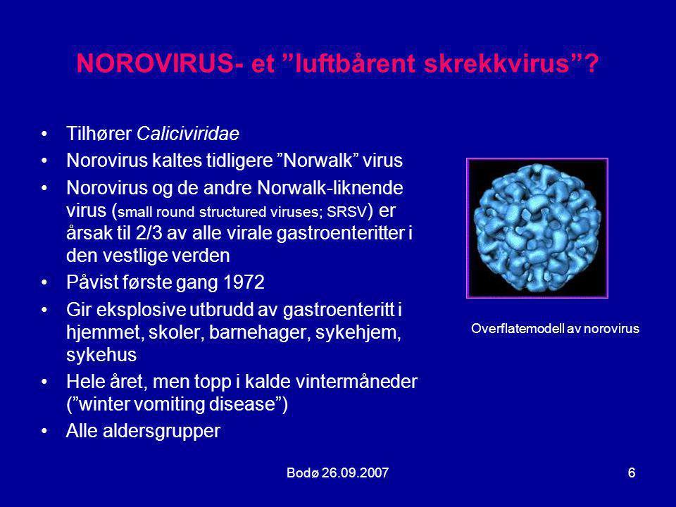 Bodø 26.09.200717 GENOTYPE NOROVIRUS •Fra 1995 har GII.4 vært hovedårsak til utbrudd av gastroenteritt på verdensbasis J Clin Microb 2004; 42(7):2988-95 •De fleste utbrudd forårsakes av én enkelt strain , J Clin Microb 2004; 42(7):2988-95 •Ko-infeksjoner forekommer, spesielt ved matbårne og vannbårne utbrudd •Rekombinasjon av genetisk materiale kan forekomme ved ko-infeksjon og gi nye generasjoner av virus strains Emerg Infect Dis 2005; 11(7):1079-85