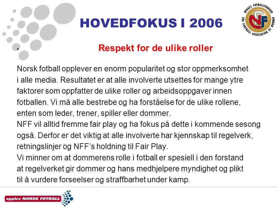 HOVEDFOKUS I 2006 • Respekt for de ulike roller Norsk fotball opplever en enorm popularitet og stor oppmerksomhet i alle media.