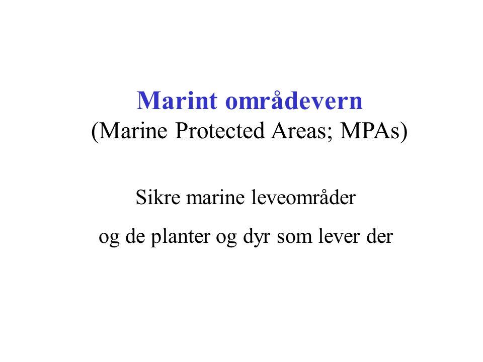 Marint områdevern (Marine Protected Areas; MPAs) Sikre marine leveområder og de planter og dyr som lever der