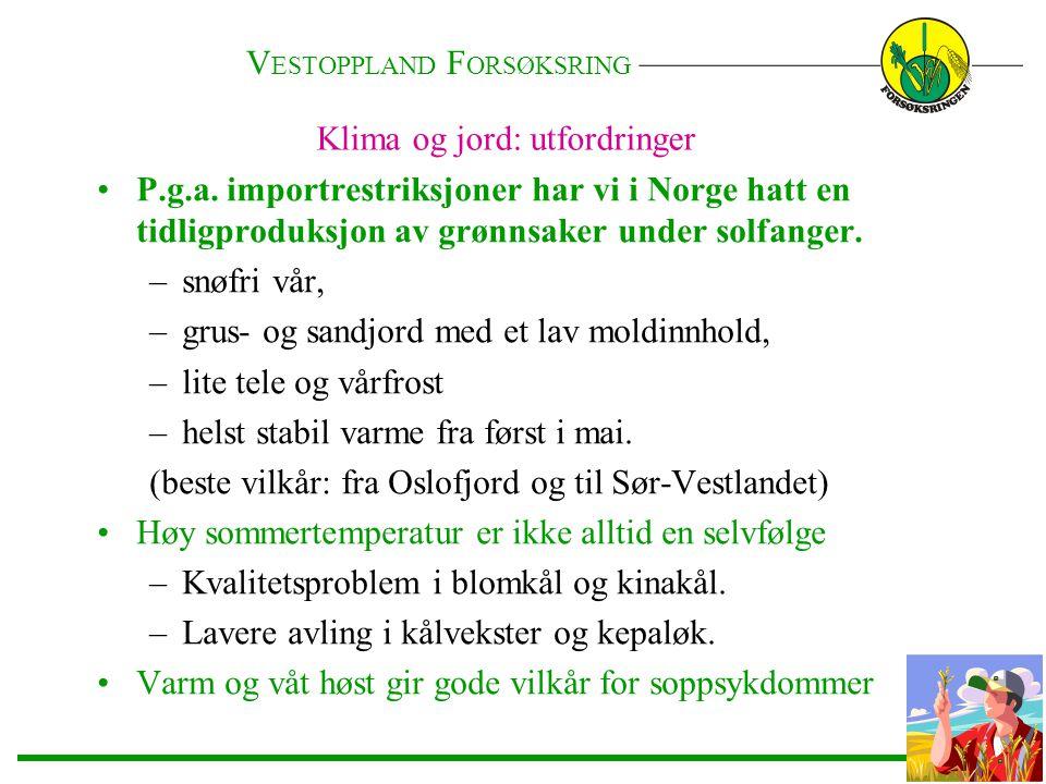Klima og jord: utfordringer •P.g.a. importrestriksjoner har vi i Norge hatt en tidligproduksjon av grønnsaker under solfanger. –snøfri vår, –grus- og