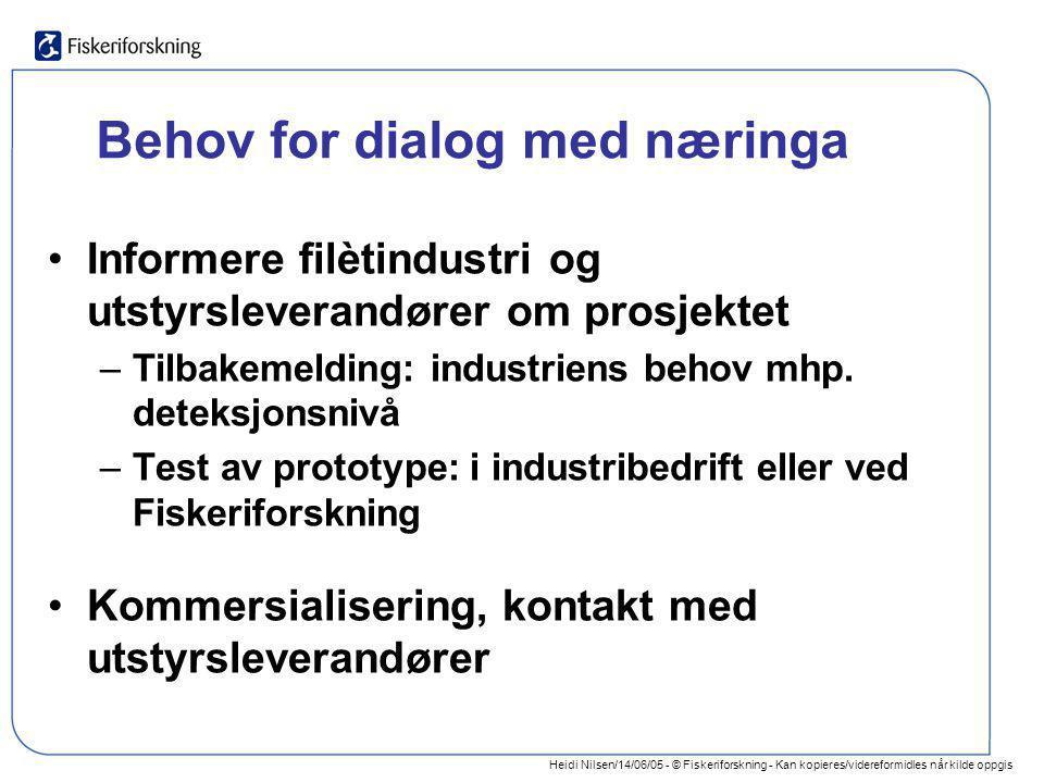 Heidi Nilsen/14/06/05 - © Fiskeriforskning - Kan kopieres/videreformidles når kilde oppgis Behov for dialog med næringa •Informere filètindustri og ut