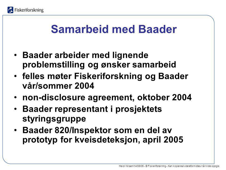 Heidi Nilsen/14/06/05 - © Fiskeriforskning - Kan kopieres/videreformidles når kilde oppgis Samarbeid med Baader •Baader arbeider med lignende problems