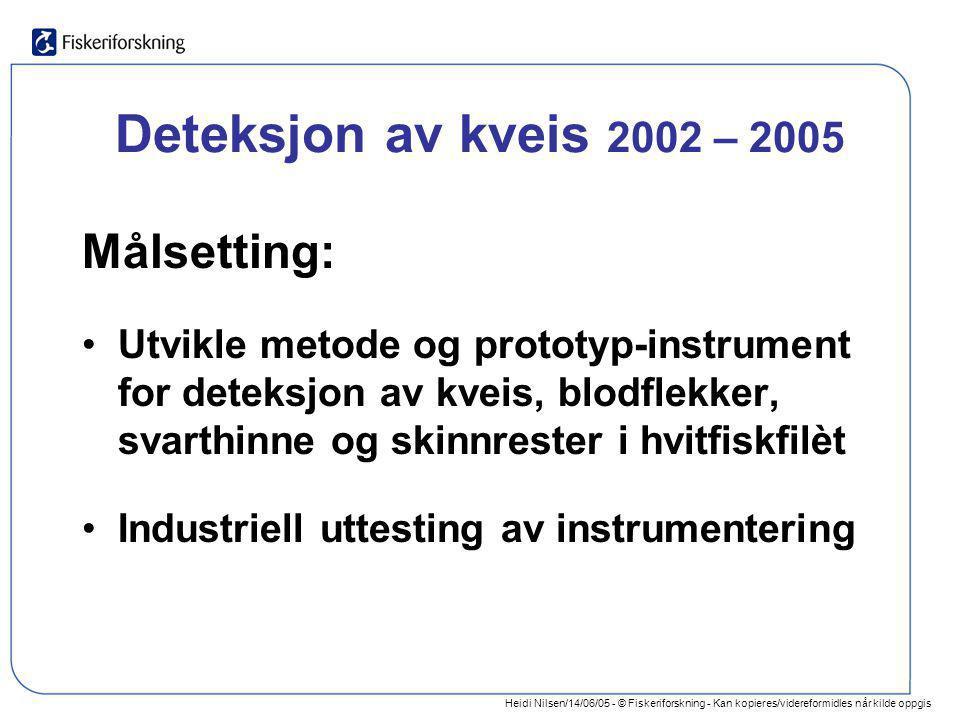 Heidi Nilsen/14/06/05 - © Fiskeriforskning - Kan kopieres/videreformidles når kilde oppgis Deteksjon av kveis 2002 – 2005 Målsetting: •Utvikle metode