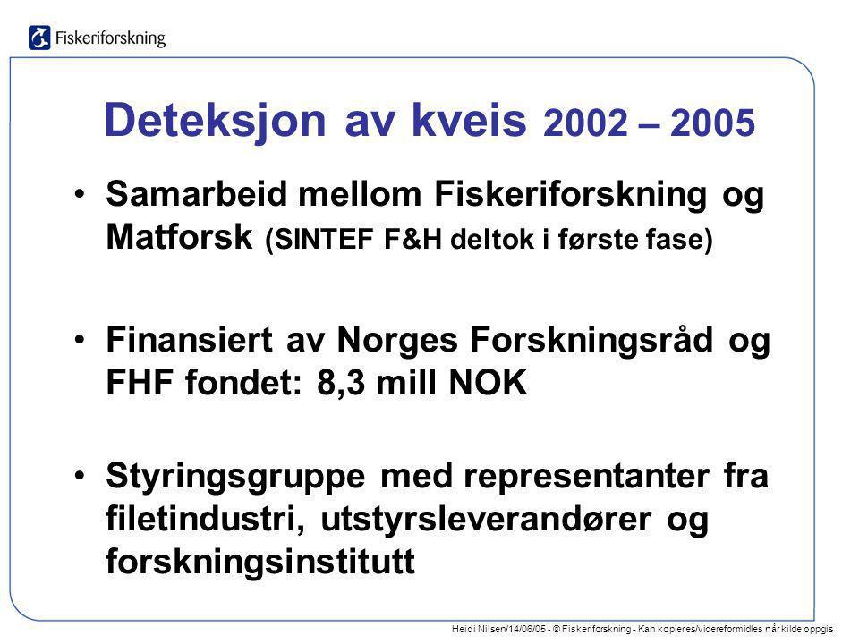 Heidi Nilsen/14/06/05 - © Fiskeriforskning - Kan kopieres/videreformidles når kilde oppgis Deteksjon av kveis 2002 – 2005 •Samarbeid mellom Fiskerifor