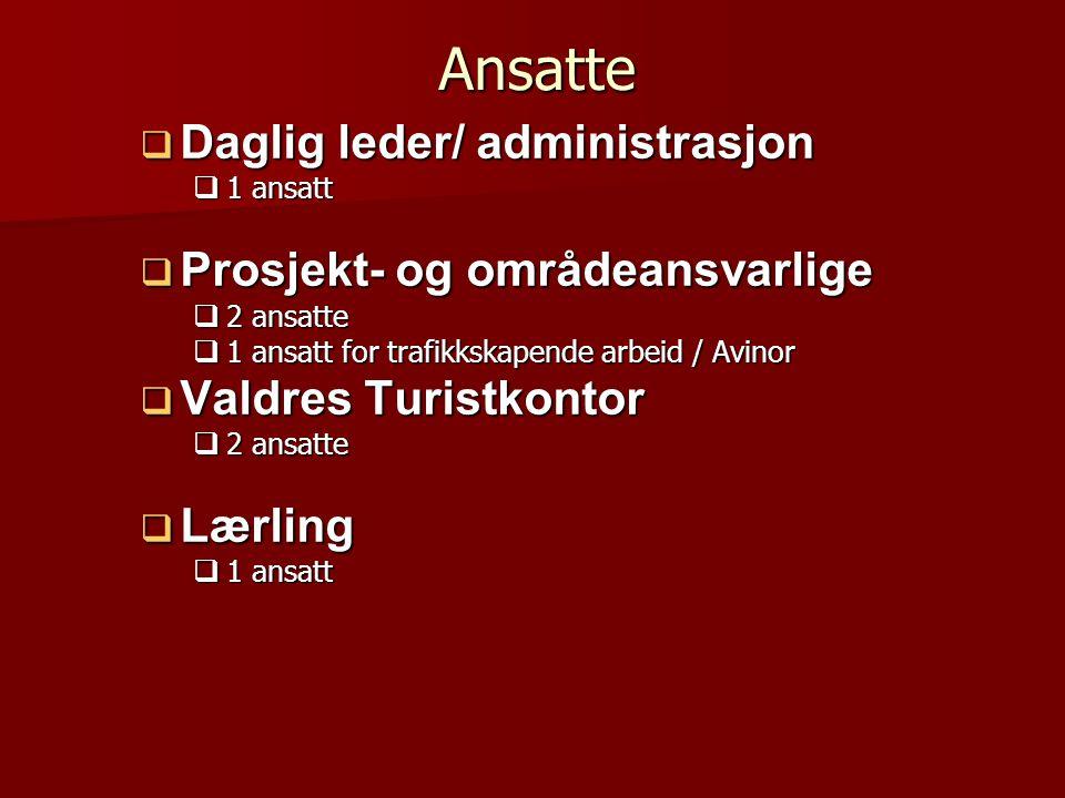 Ansatte  Daglig leder/ administrasjon  1 ansatt  Prosjekt- og områdeansvarlige  2 ansatte  1 ansatt for trafikkskapende arbeid / Avinor  Valdres