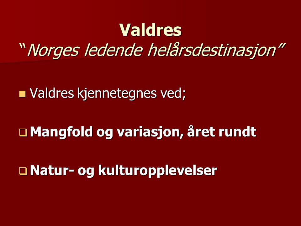 """Valdres """"Norges ledende helårsdestinasjon""""  Valdres kjennetegnes ved;  Mangfold og variasjon, året rundt  Natur- og kulturopplevelser"""