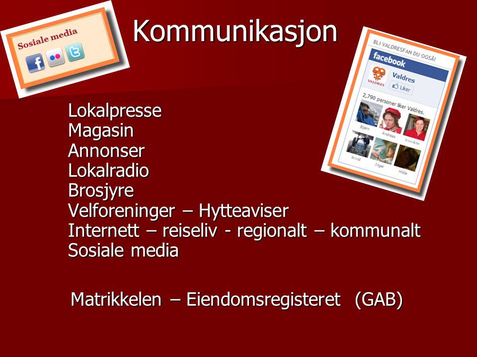 Kommunikasjon Lokalpresse Magasin Annonser Lokalradio Brosjyre Velforeninger – Hytteaviser Internett – reiseliv - regionalt – kommunalt Sosiale media