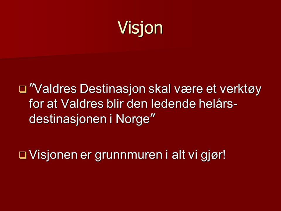 """Visjon  """" Valdres Destinasjon skal være et verktøy for at Valdres blir den ledende helårs- destinasjonen i Norge """"  Visjonen er grunnmuren i alt vi"""