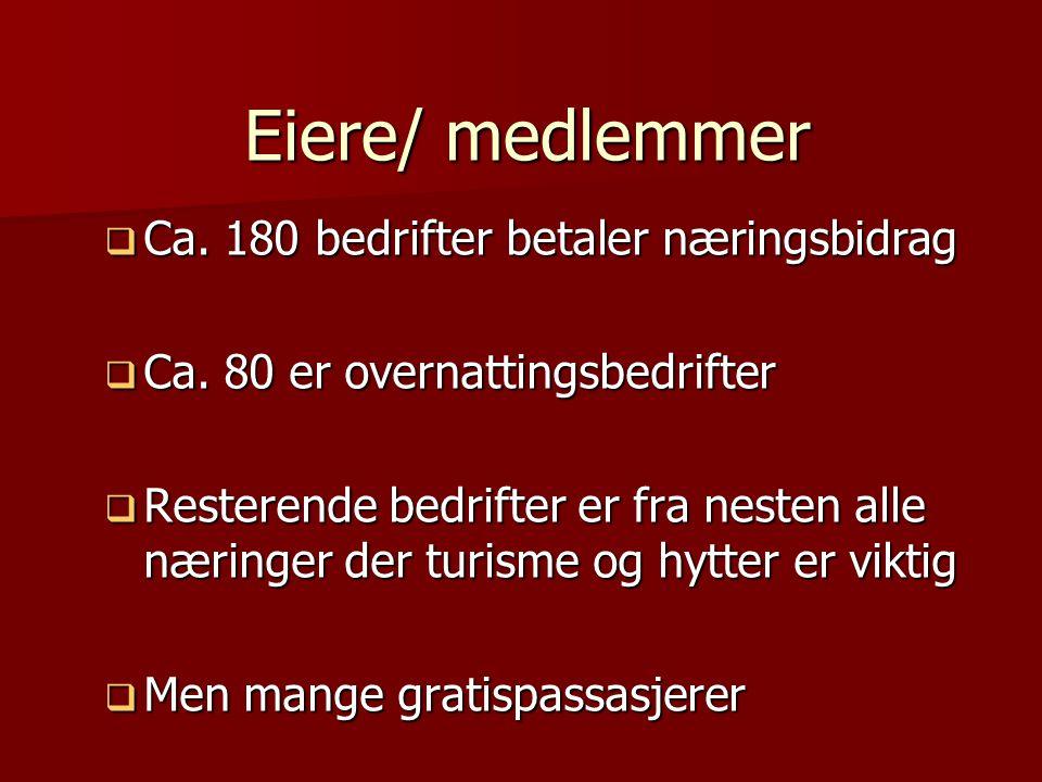 Finansiering (09)  Medlemmene 1 mill  Kommunene 2,1 mill  Fylkeskommunen 1,5 mill (infrastruktur, stier/sykkel, web, internasj.markedsføring)  Innovasjon Norge 500.000 (fellesgode)  DA 700.000 (siste år 09)  VNK 650.000 (fellesgode, stier, festivalkontor)