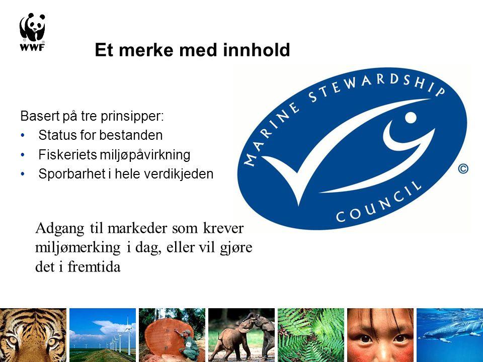 Basert på tre prinsipper: •Status for bestanden •Fiskeriets miljøpåvirkning •Sporbarhet i hele verdikjeden Et merke med innhold Adgang til markeder so