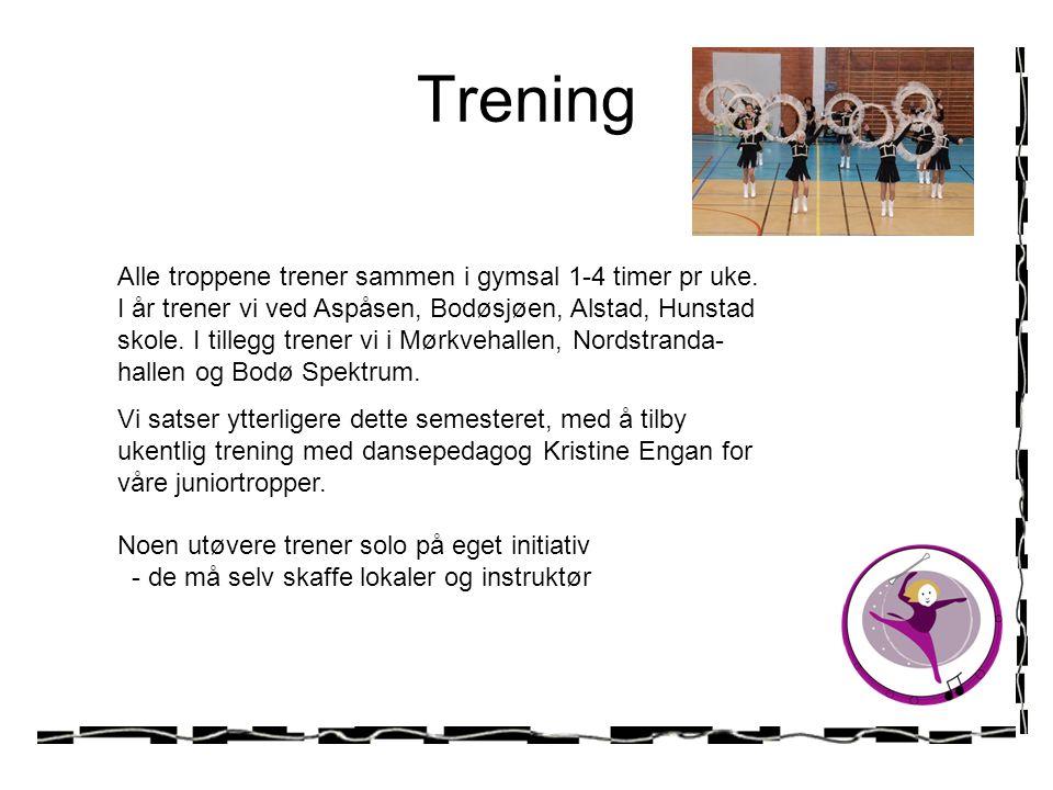 Trening Alle troppene trener sammen i gymsal 1-4 timer pr uke. I år trener vi ved Aspåsen, Bodøsjøen, Alstad, Hunstad skole. I tillegg trener vi i Mør