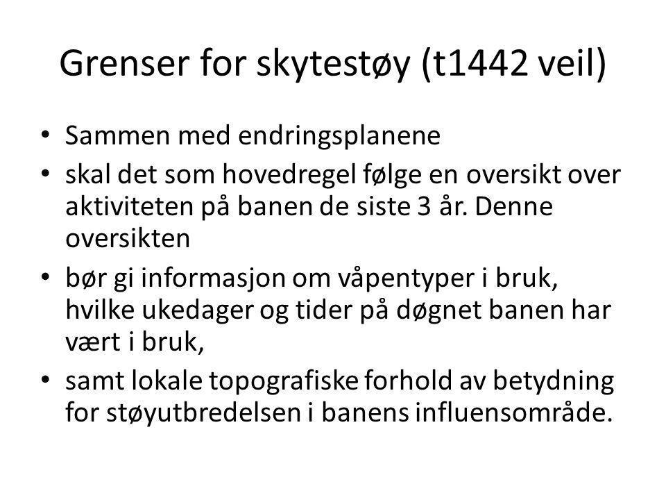 Grenser for skytestøy (t1442 veil) • Sammen med endringsplanene • skal det som hovedregel følge en oversikt over aktiviteten på banen de siste 3 år. D