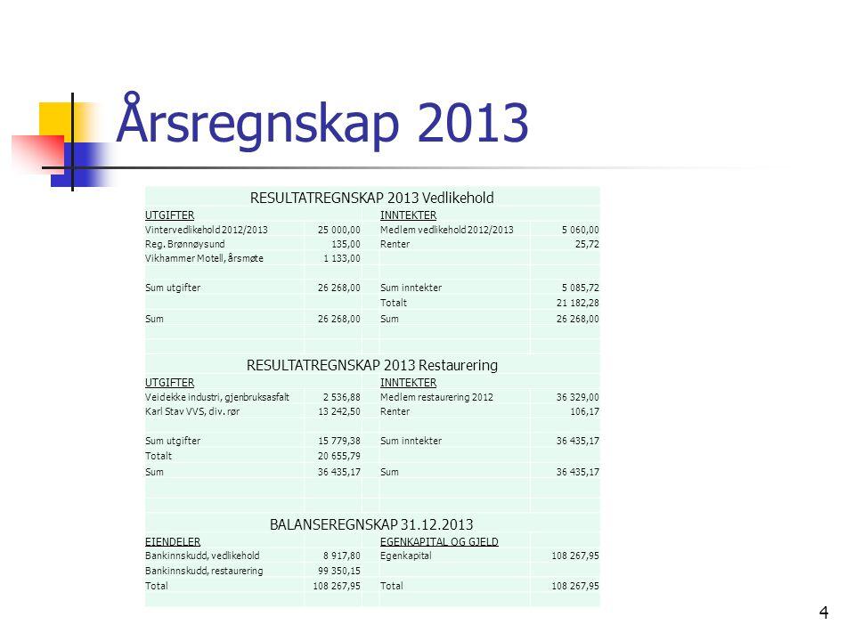 Årsregnskap 2013 4 RESULTATREGNSKAP 2013 Vedlikehold UTGIFTERINNTEKTER Vintervedlikehold 2012/201325 000,00Medlem vedlikehold 2012/20135 060,00 Reg.