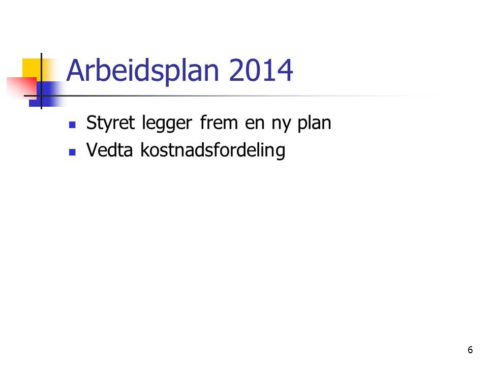 Arbeidsplan 2014  Styret legger frem en ny plan  Vedta kostnadsfordeling 6