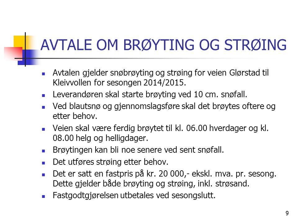 AVTALE OM BRØYTING OG STRØING  Avtalen gjelder snøbrøyting og strøing for veien Glørstad til Kleivvollen for sesongen 2014/2015.