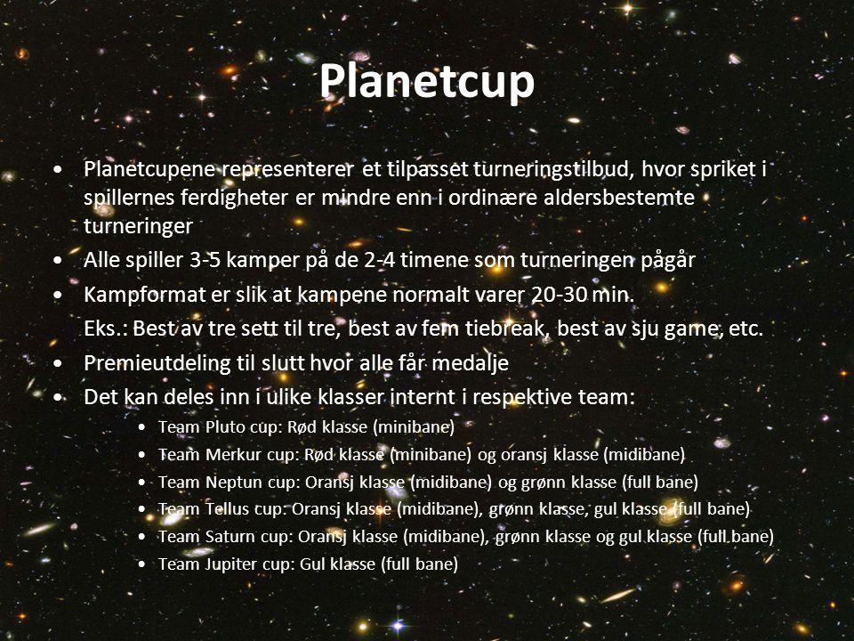 Planetcup •Planetcupene representerer et tilpasset turneringstilbud, hvor spriket i spillernes ferdigheter er mindre enn i ordinære aldersbestemte turneringer •Alle spiller 3-5 kamper på de 2-4 timene som turneringen pågår •Kampformat er slik at kampene normalt varer 20-30 min.