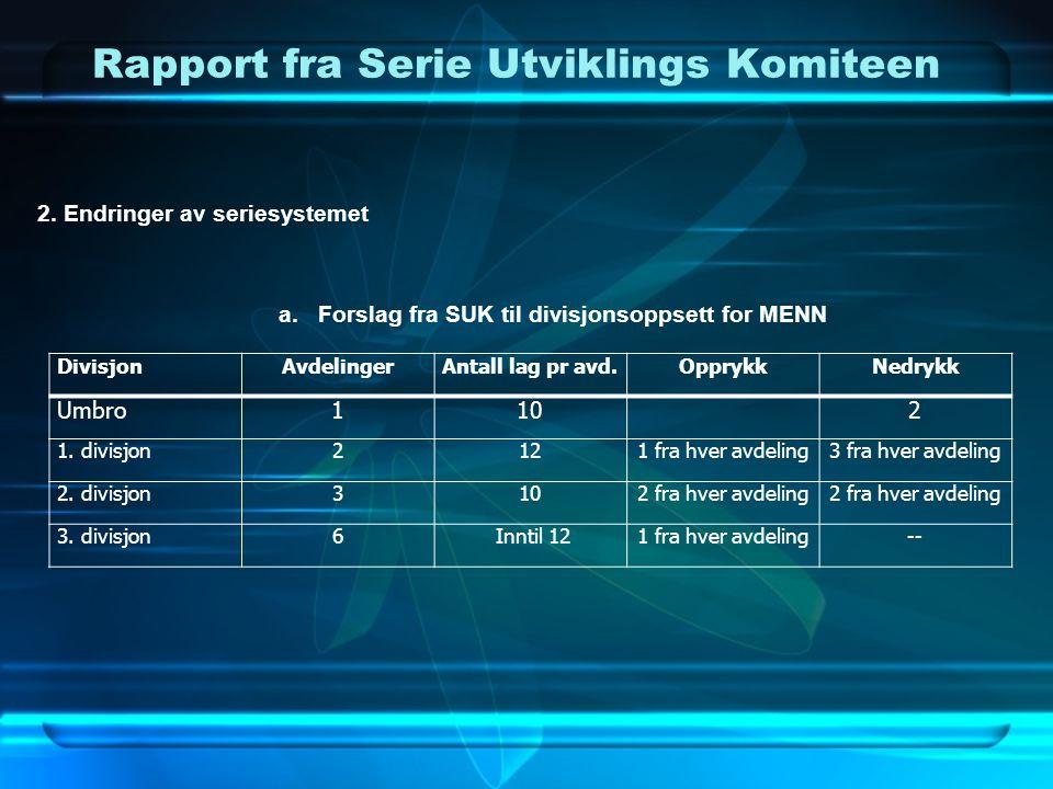 Rapport fra Serie Utviklings Komiteen 2. Endringer av seriesystemet a.Forslag fra SUK til divisjonsoppsett for MENN DivisjonAvdelingerAntall lag pr av