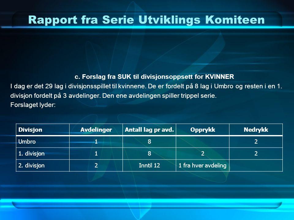 Rapport fra Serie Utviklings Komiteen c. Forslag fra SUK til divisjonsoppsett for KVINNER I dag er det 29 lag i divisjonsspillet til kvinnene. De er f