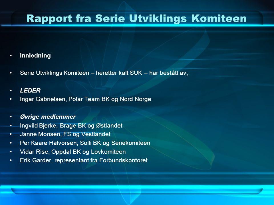 Rapport fra Serie Utviklings Komiteen Utgangspunkt for SUK •Utgangspunkt for komiteen er forslag fra Polar Team BK fremlagt på Forbundstinget 2007, der det ble bestemt at det skulle nedsettes en komité som skulle se på dagens seriesystem.
