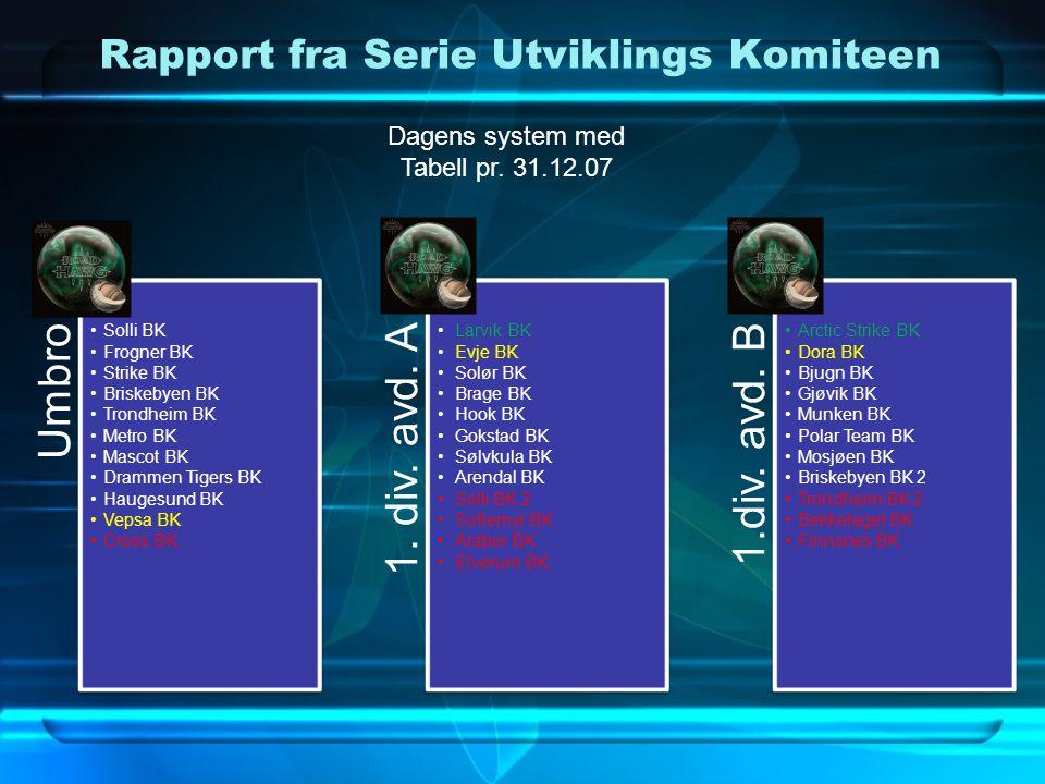 Rapport fra Serie Utviklings Komiteen Umbro •Solli BK •Frogner BK •Strike BK •Briskebyen BK •Trondheim BK •Metro BK •Mascot BK •Drammen Tigers BK •Hau