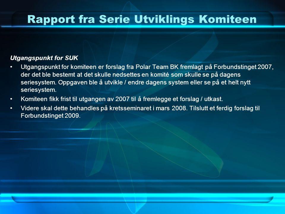 Rapport fra Serie Utviklings Komiteen Utgangspunkt for SUK •Utgangspunkt for komiteen er forslag fra Polar Team BK fremlagt på Forbundstinget 2007, de