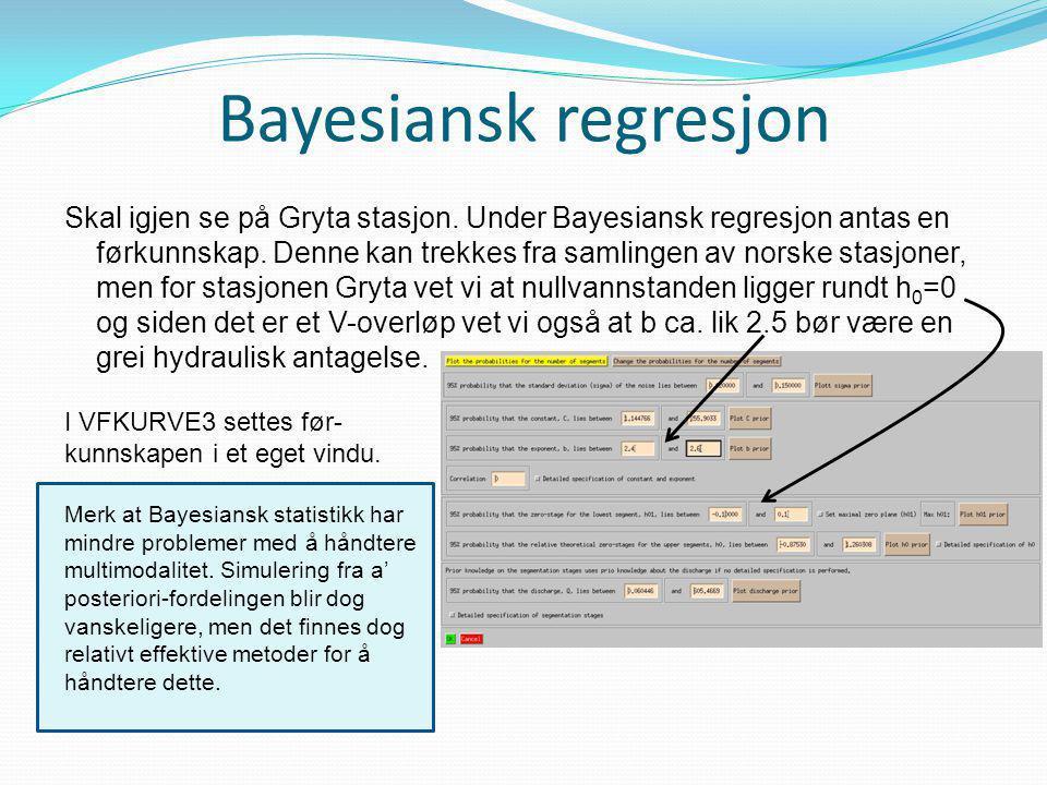 Bayesiansk regresjon Skal igjen se på Gryta stasjon. Under Bayesiansk regresjon antas en førkunnskap. Denne kan trekkes fra samlingen av norske stasjo