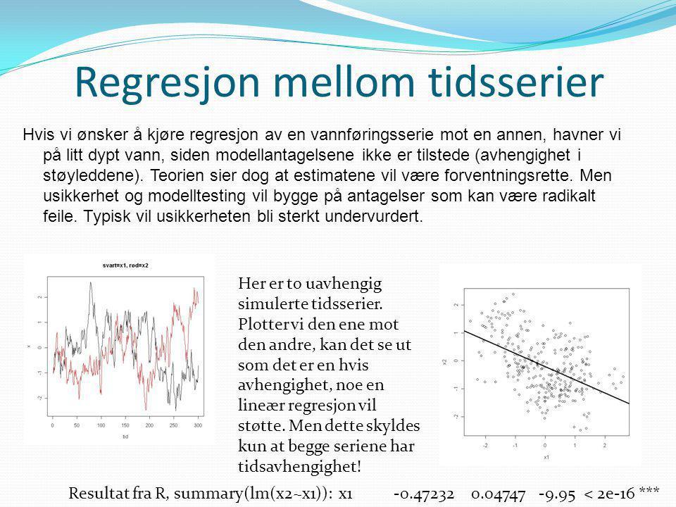 Regresjon mellom tidsserier Hvis vi ønsker å kjøre regresjon av en vannføringsserie mot en annen, havner vi på litt dypt vann, siden modellantagelsene