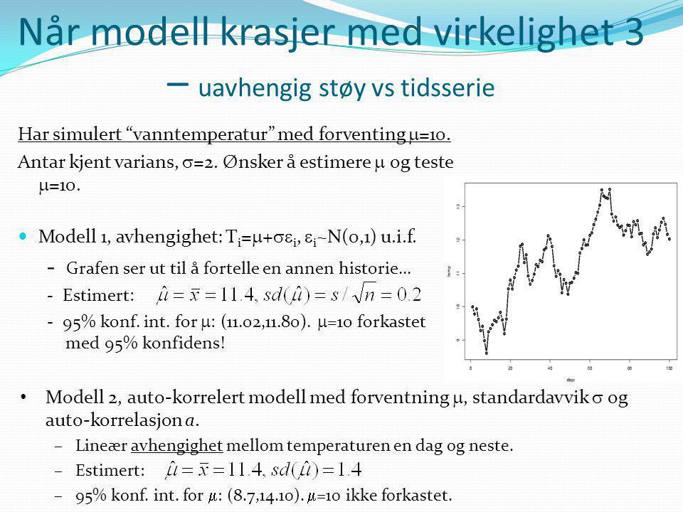 """Når modell krasjer med virkelighet 3 – uavhengig støy vs tidsserie Har simulert """"vanntemperatur"""" med forventing  =10. Antar kjent varians,  =2. Ønsk"""