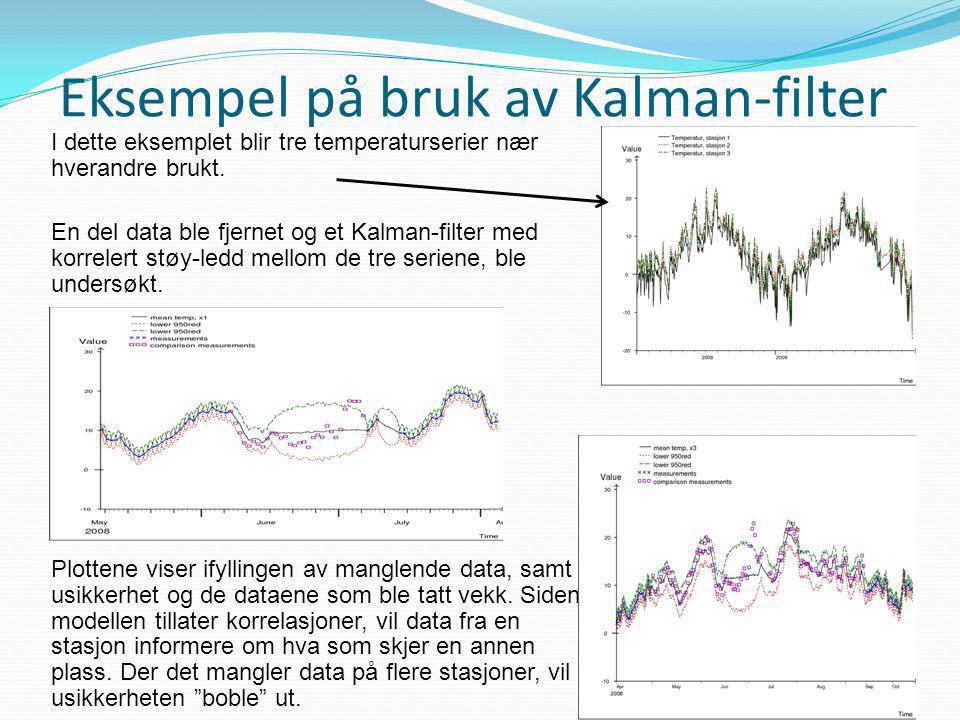Eksempel på bruk av Kalman-filter I dette eksemplet blir tre temperaturserier nær hverandre brukt. En del data ble fjernet og et Kalman-filter med kor