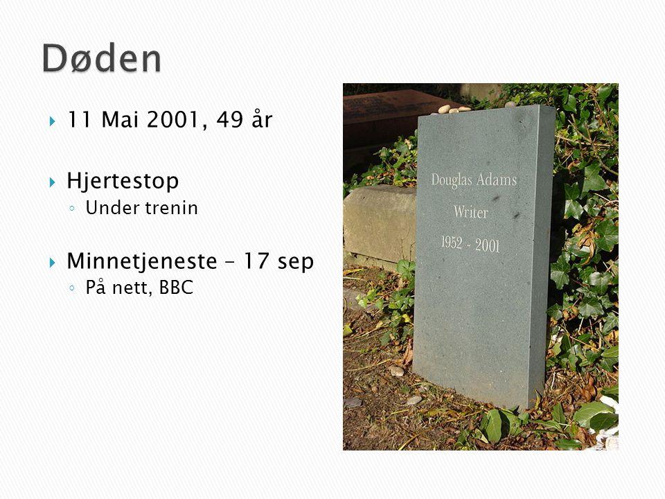  11 Mai 2001, 49 år  Hjertestop ◦ Under trenin  Minnetjeneste – 17 sep ◦ På nett, BBC