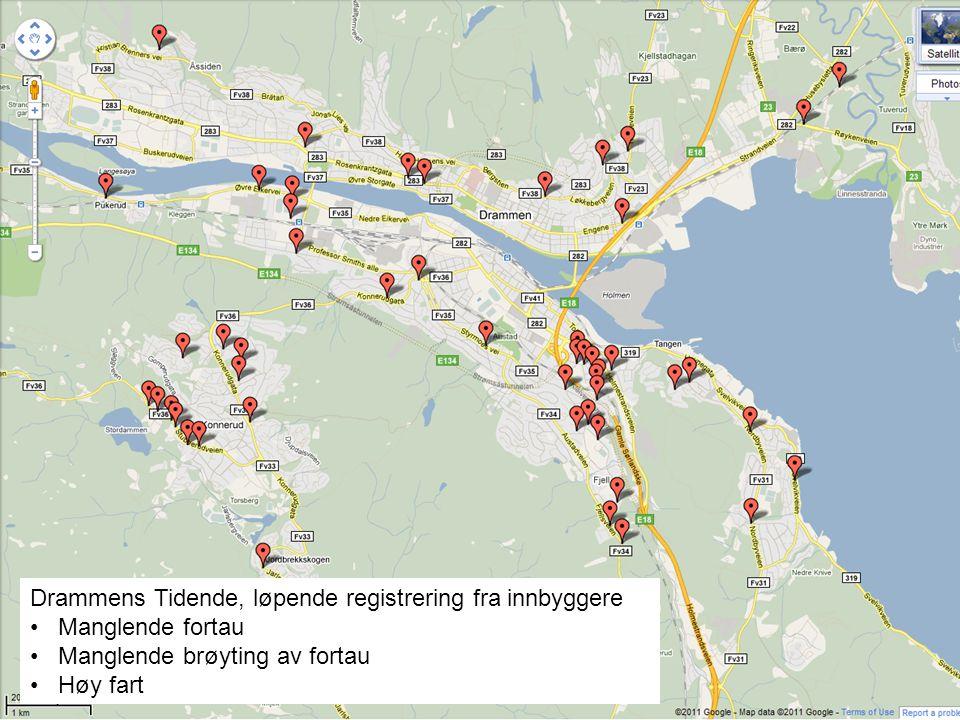 Drammens Tidende, løpende registrering fra innbyggere • Manglende fortau • Manglende brøyting av fortau • Høy fart