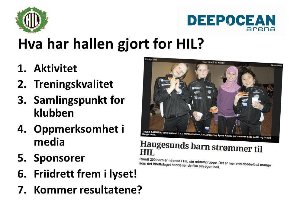 1.Aktivitet 2.Treningskvalitet 3.Samlingspunkt for klubben 4.Oppmerksomhet i media 5.Sponsorer 6.Friidrett frem i lyset.