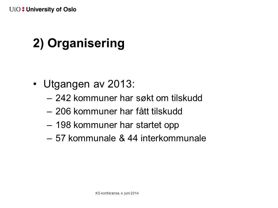 2) Organisering •Utgangen av 2013: –242 kommuner har søkt om tilskudd –206 kommuner har fått tilskudd –198 kommuner har startet opp –57 kommunale & 44