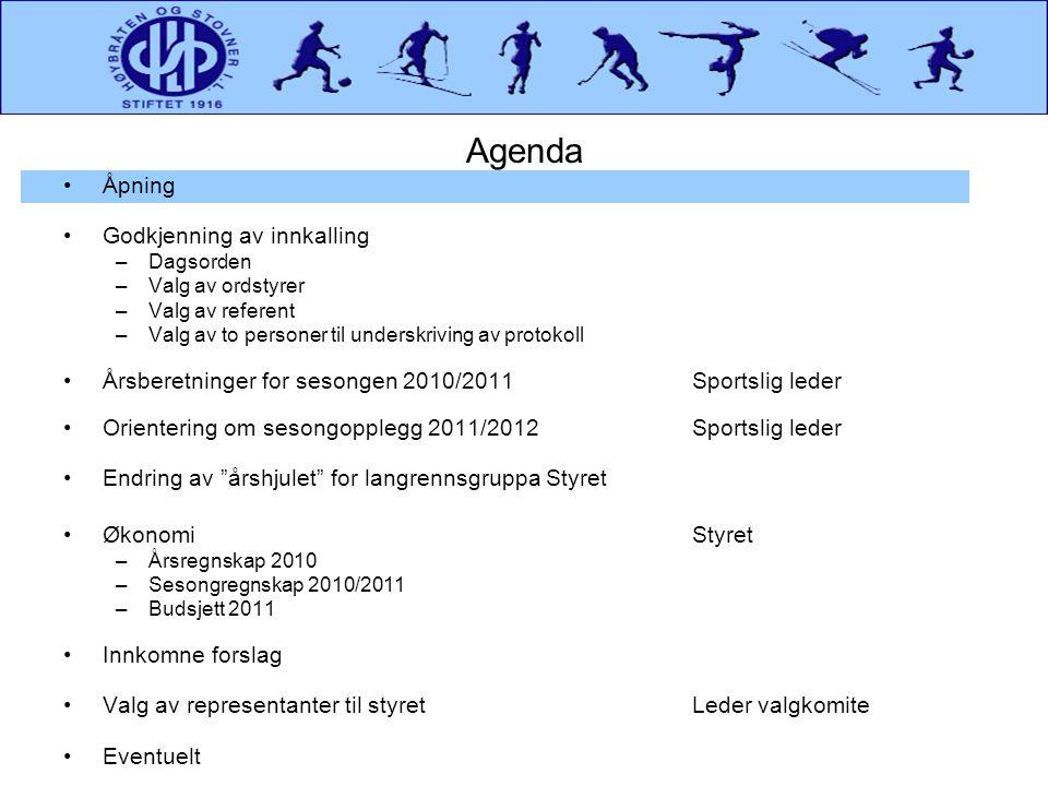 Sesongregnskap 2010/2011Inntekter for Sesongen Forts.
