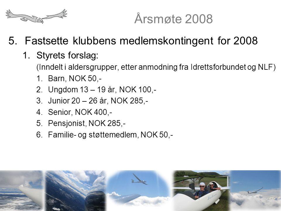 Årsmøte 2008 5.Fastsette klubbens medlemskontingent for 2008 1.Styrets forslag: (Inndelt i aldersgrupper, etter anmodning fra Idrettsforbundet og NLF)